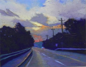 Daybreak, Route 6, 11 x 14, pastelbord with gel