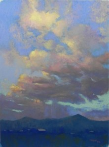 Taos Sunset #3, 24 x 18, Wallis Museum Grade board