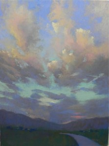 Taos Sunset #3, 24 x 18, Wallis Museum board