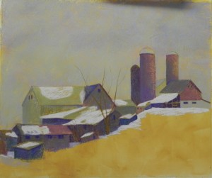 Farm buildings done with hard pastels
