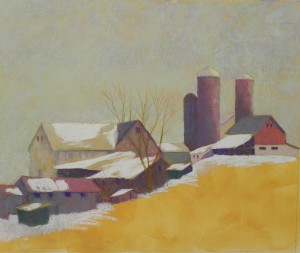 Completed layers of soft pastel on buildings and snow on roofs