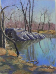 Quiet Pool, Wide Water, 16 x 12, Pastelbord
