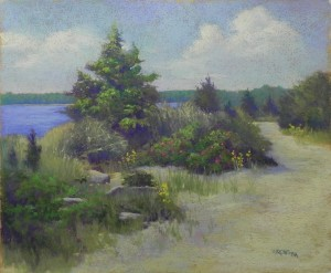 June Morning, Goodspeed Island, 20 x 24, BFK Rives and toned AS liquid primer