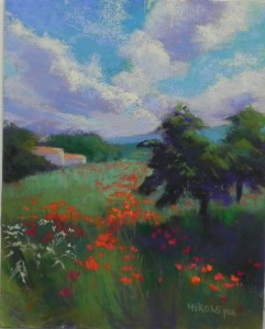 Color study for Puglia Poppies, 8 x 10, Pastelbord