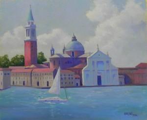 San Giorgio Maggiore, Venice, 20 x 24, Rives and AS Liquid Primer