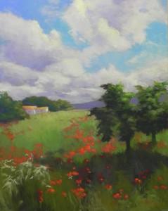 Poppy Field, 20 x 16, Pastelbord