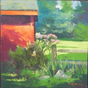 Garden with Late Day Shadows, 12 x 12, Fisher