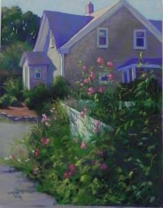 House with Sweet Peas, 20 x 16, UART 500