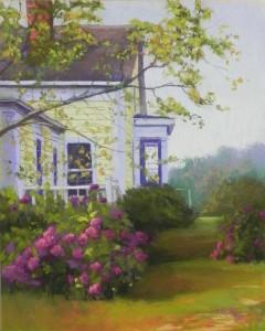 House with Purple Hydrangea, 20 x 16, UART 500