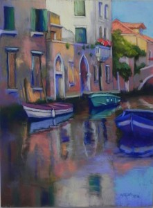 "Morning Light, Venetian Canal, 16"" x 12"", Pastelbord (brown)"