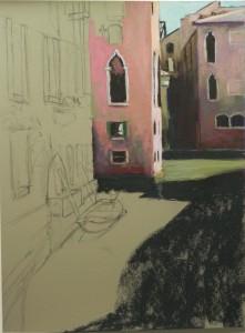 Beginnings of painting on  Pastel Premiere gray-brown