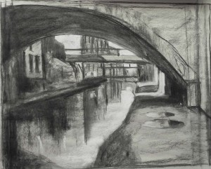 Compositional study, charcoal and white pastel