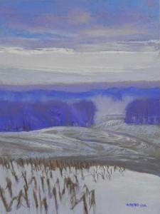 "Emerging Light, 16 x 12, pastel premiere ""Italiian clay"""