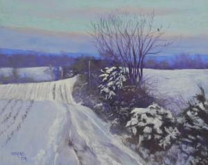 Farm Road in Snow, 16 x 20, pastelbord