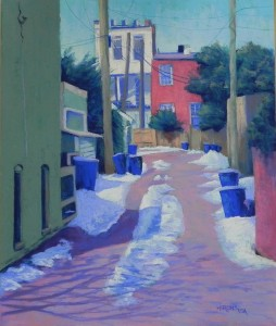 Alley with Blue Trash Cans, 24 x 20, Pastel Premiere 400