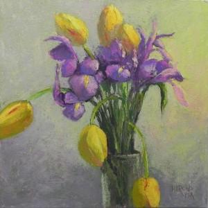 Iris and Tulips, 12 x 12