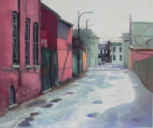 Snow-covered Alley, Capitol Hill, 20 x 24, Pastel Premiere 400