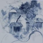 layin with blue hard pastel