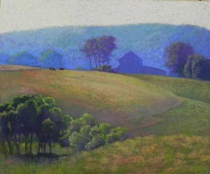 Hill Barn in Morning Glow, 20 x 24, resurfaced UART