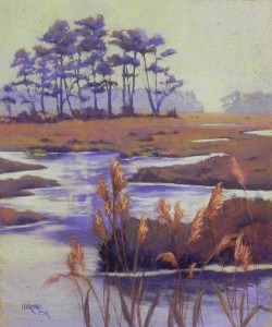 "Misty Day, Chincoteague, 24"" x 20"", BFK Rives and Colourfix Liquid Primer"