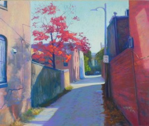 Alley with Red Dogwood, 20 x 24, UART 400