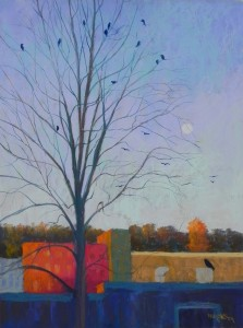 Moon Rise with Crows, 24 x 18, Pastelbord