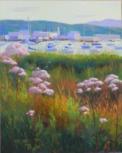 """Harbor Sundown, 20"""" x 16"""", Pastelbord"""