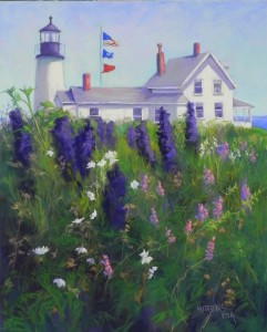 "Lighthouse with Delphiniums, 20"" x 16"", pastelbord"