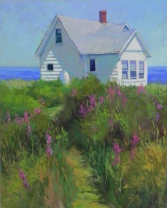 "Shore House with Loosestrife, 20"" x 16"", Pastelbord"