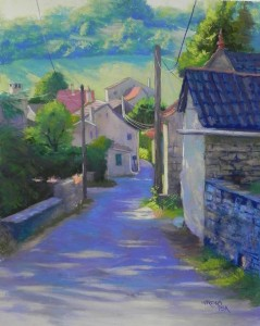 "Morning Walk in a French Village, 20"" x 16"", Pastel Premiere 400"