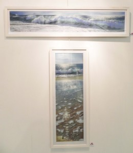 Two paintings of surf by Nicole Guion-Stamatakis