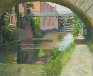 "Georgetown Canal in Summer, 20"" x 24"", Pastel Premiere white"