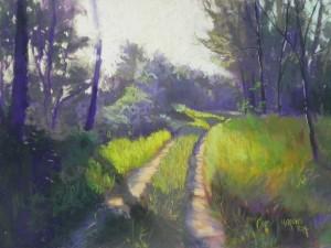 "Sunny Path, St-Aulaye, 12"" x 16"", Pastel Premiere ""Italian clay"""