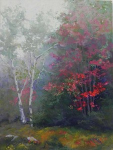 "Red Emerging, 16"" x 12"", mounted Pastel Premiere"