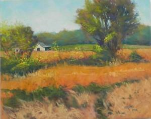 "Soy Bean Fields, 16"" x 20"", Pastelbord"