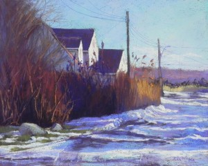 "Shore Houses in Winter, 16"" x 20"", resurfaced Pastelbord"