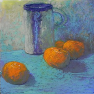 Mug with Clementines (by me)  12 x 12 Multi-media pastel board
