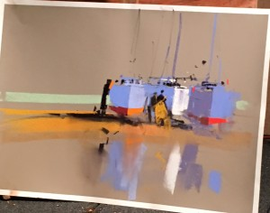 Painting of boats by Tony Allain