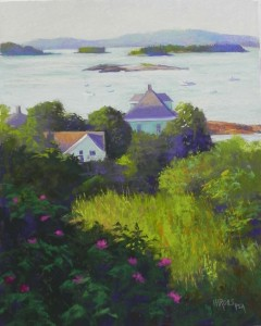 "Early Morning, Stonington Harbor, 16"" x 12"", Pastel Premiere white 400 (mounted)"