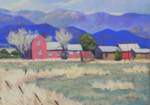 "New Mexico Farm, 14"" x 19"", Pastelmat brown"